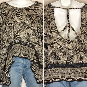 Patrons of Peace boho blouse size M bell sleeves